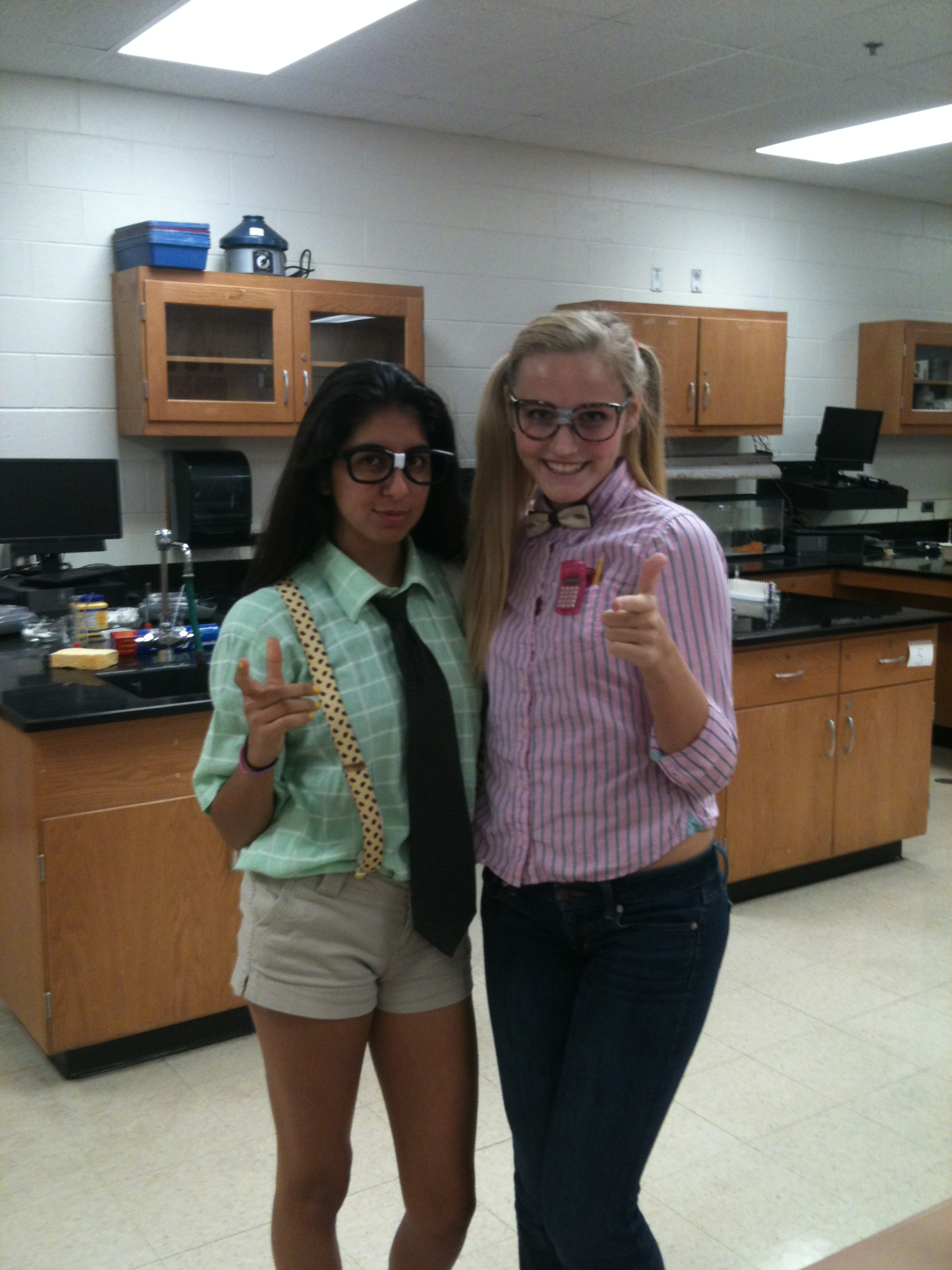 Sophomores Bahar Lakeh and Lindsey Freeman went with a nerdy looking outfit  to be twins. The Best of Twin Day